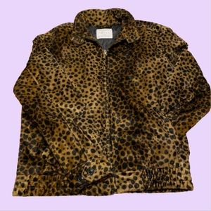 Urban Outfitters Leopard Faux Fur Bomber Jacket